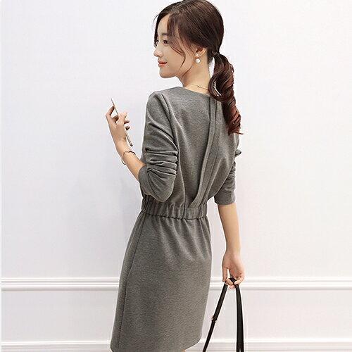 短洋裝 - 一釦摺疊設計鬆緊腰長袖連衣裙【29167】藍色巴黎 - 現貨+預購 2