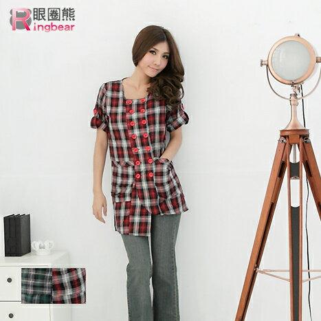 長版上衣--輕鬆自然的甜美格紋配色雙排釦反折袖長版上衣  外套(紅.綠S-XL)-U41眼圈熊中大