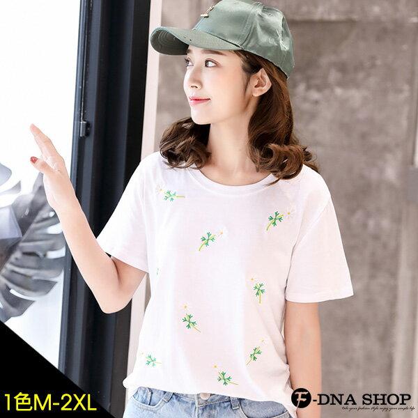 F-DNA★清新小花朵圓領短袖上衣T恤(白-M-2XL)【ET12603】