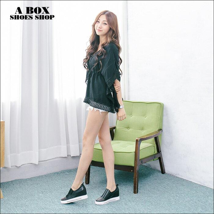 格子舖*【KF8503-9】韓國製造 質感真皮 鉚釘綴飾鞋頭 4CM內增高厚底包鞋休閒鞋 懶人鞋 2色 2
