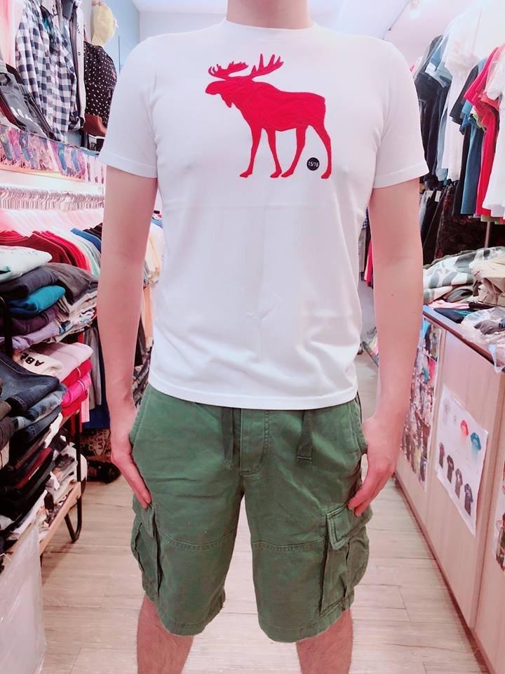 A  F KIDS BOY 大麋鹿LOG 短t恤 Abercrombie   Fitch