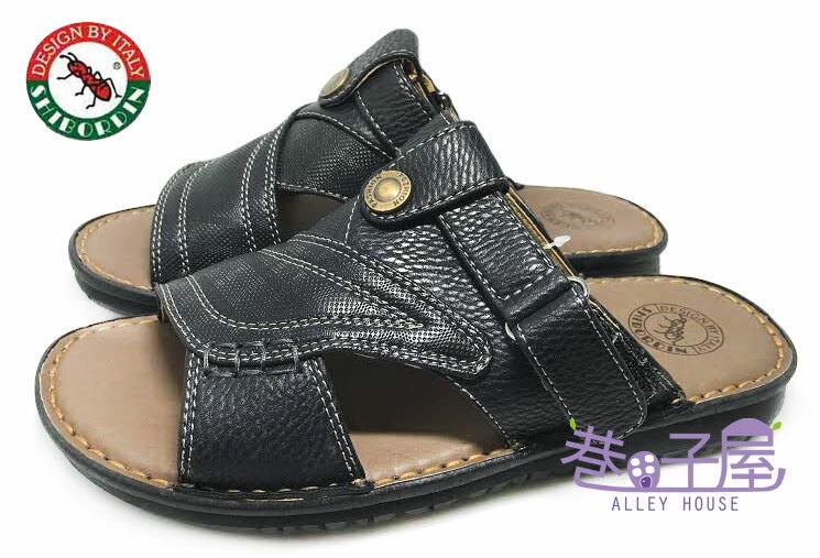 【巷子屋】SHIBORDIN喜伯登 紅螞蟻 男款手工縫製皮感兩用涼拖鞋 [1300589] 黑 台灣製造 超值價$298