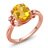 2.03 Ct Yellow Citrine White Created Sapphire 18K Rose Gold Plated Silver Ring 0
