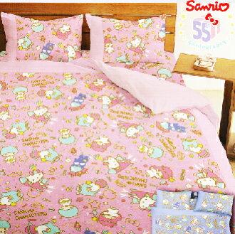 【名流寢飾家居館】Hello Kitty.三麗鷗55週年太空風.雙人薄被套.全程臺灣製造