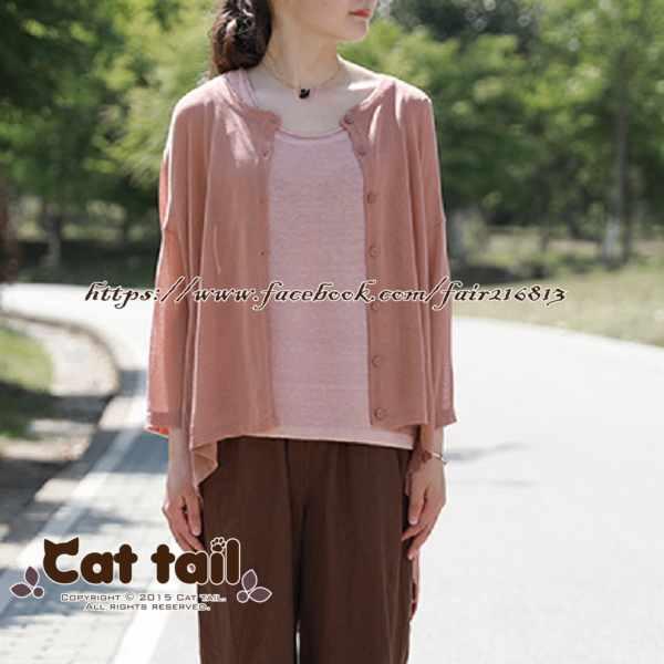 《貓尾巴》LZ-03176簡約純色針織短袖上衣(森林系日系棉麻文青清新)
