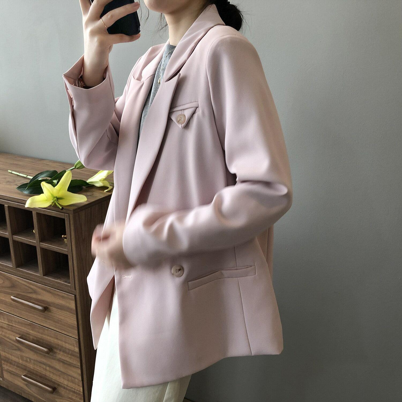 中長款西裝外套女2021春季新款韓版小個子設計感休閒西服
