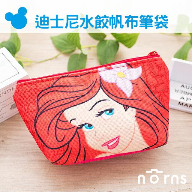 NORNS 【迪士尼帆布水餃筆袋】小美人魚 收納包 鉛筆盒