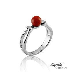 大東山珠寶 雙雙對對全紅珊瑚純銀戒指