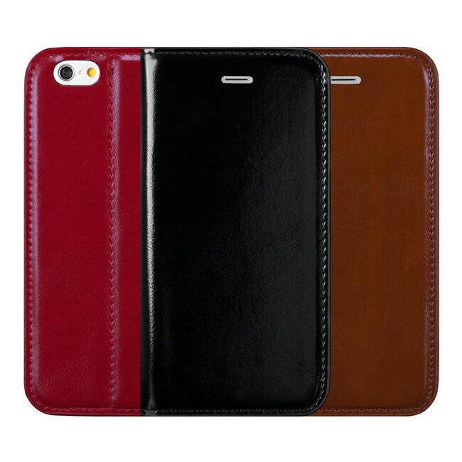 """Ultimate- iPhone 6 Plus (5.5"""") 穩重瘋馬紋隱磁可立式手機皮套 支架保護套 卡片收納手機包"""