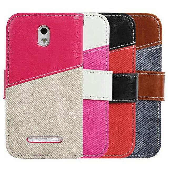 Ultimate- HTC Desire 500 (506e) 瘋牛仔拼色可立式手機皮套 側開翻蓋保護皮套 支架手機包