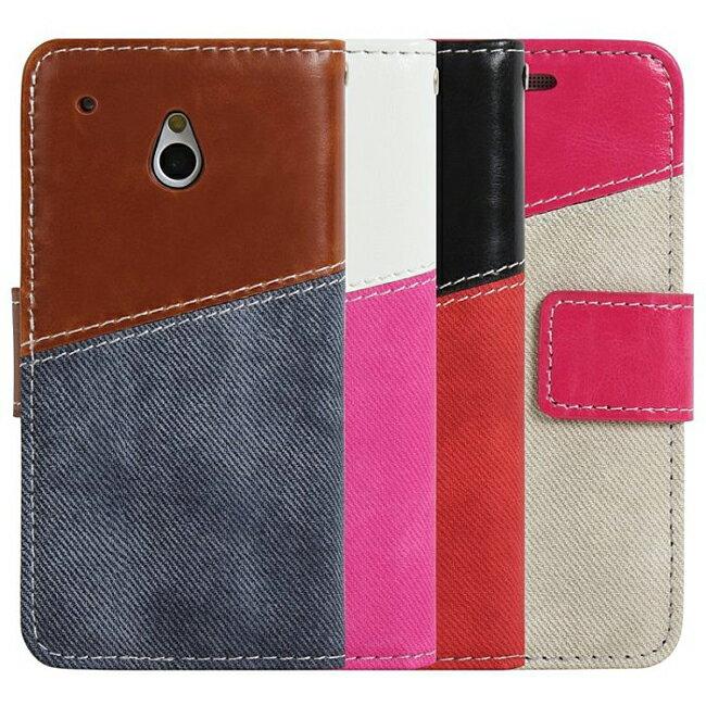 Ultimate- HTC NEW ONE (M7) 瘋牛仔拼色手機側開翻蓋可立背外殼保護皮套 支架手機包