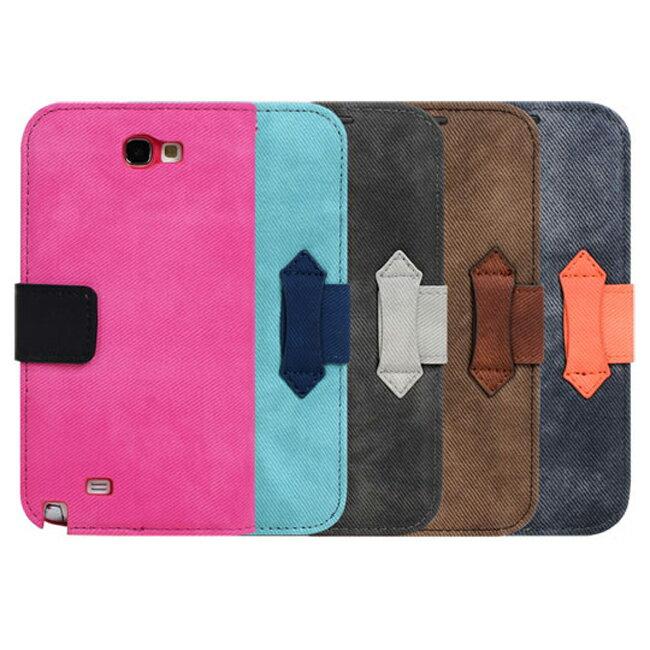 Ultimate- Samsung Note2 (N7100) 愛丹寧牛仔可立式手機側開翻蓋保護皮套 卡式支架手機包