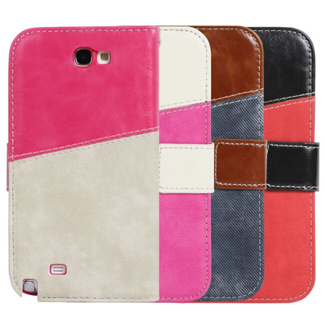 Ultimate- Samsung Note2 (N7100) 瘋牛仔拚色手機側開翻蓋可立背外殼保護皮套 支架手機包