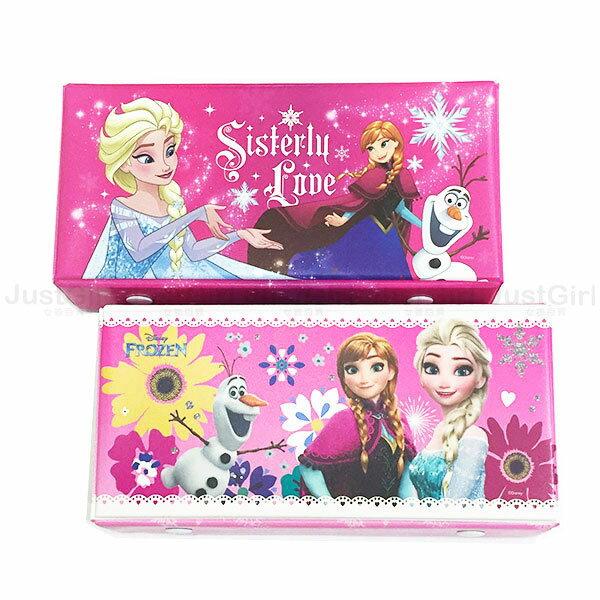 冰雪奇緣 艾莎 ELSA 安娜 ANNA 鉛筆盒 雙扣方形 收納盒 文具 正版日本授權 * JustGirl *