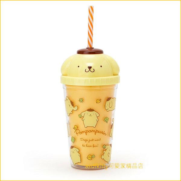 asdfkitty可愛家☆布丁狗大臉造型黃色塑膠吸管杯-300ML-飲料杯-日本正版商品