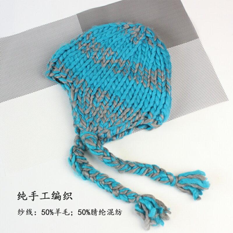 歐美女士時尚羊毛帽子秋冬純手工編織帽護耳加絨戶外滑雪帽女1入