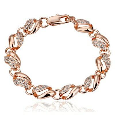 純銀手鍊 鍍18K金鑲鑽手環 ~ 亮麗 母親節生日情人節 女飾品2色73cd8~ ~~米蘭