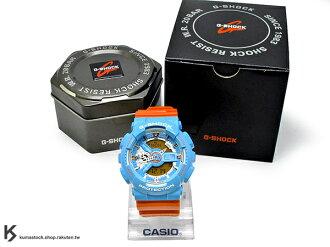 2015 新款登場 超人氣90年代復古配色 日本限定款 CASIO G-SHOCK GA-110NC-2ADR 藍橘 亮藍橘 雙色 亮面錶帶 !
