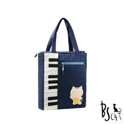 【ABS貝斯貓】可愛貓咪拼布 A4可入肩背包 提袋(藍色88-200)【威奇包仔通】