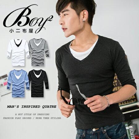 ☆BOY-2☆【PPK82005】七分袖T韓版配色假兩件長袖T恤 1