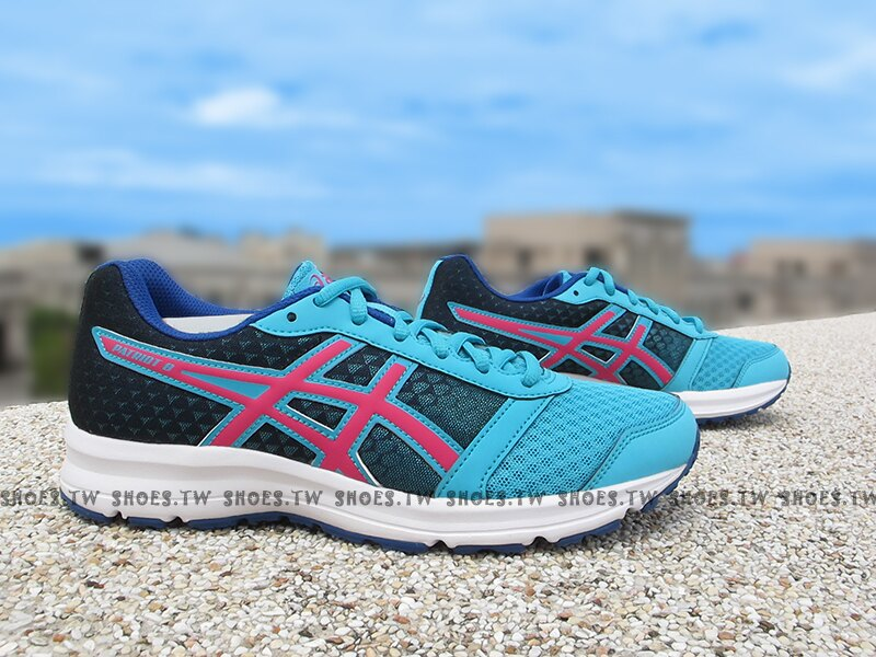 Shoestw【T669N-3919】ASICS 慢跑鞋 基本入門款 藍桃紅 女生