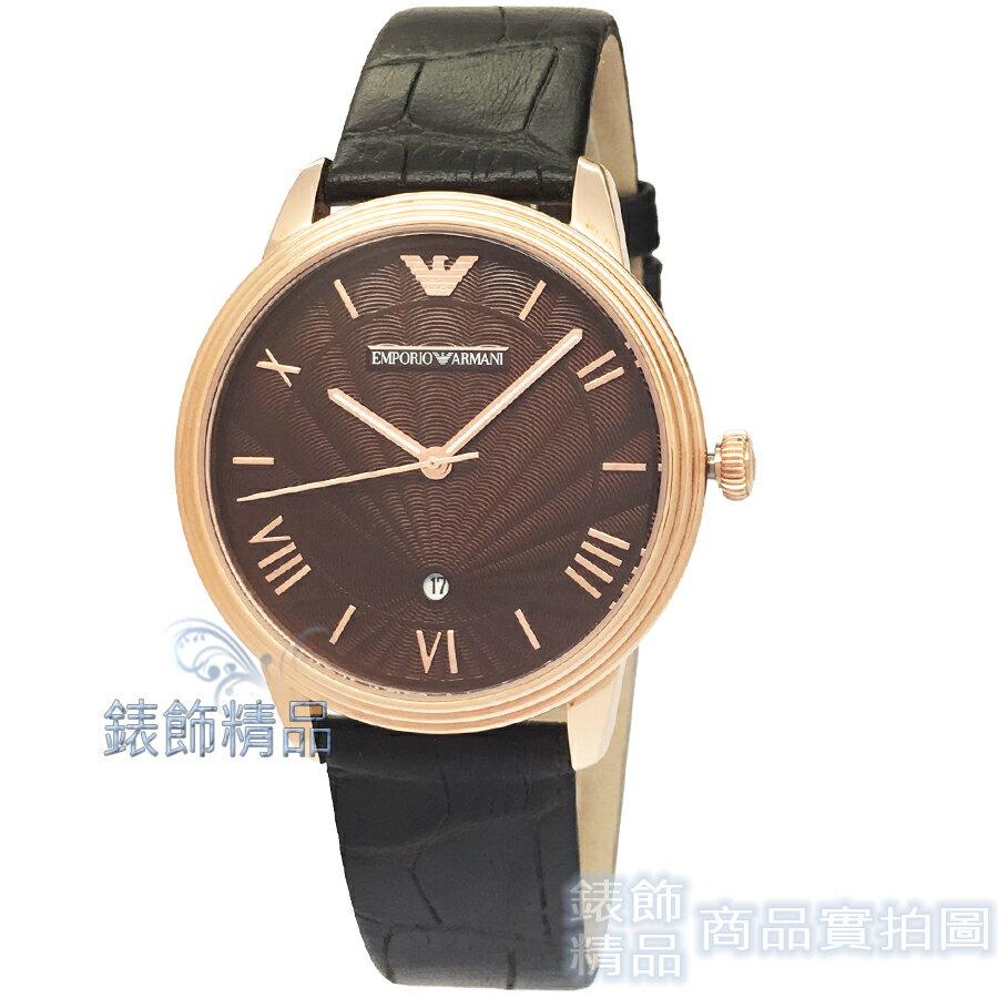 【錶飾精品】ARMANI手錶 亞曼尼 AR1613 優雅紳士 日期 夜光指針 咖啡金面 玫金框 咖啡皮帶男錶