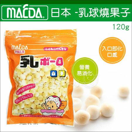 ?蟲寶寶?【日本MAEDA】乳球燒果子120g 日本製/日本原裝進口《現+預》