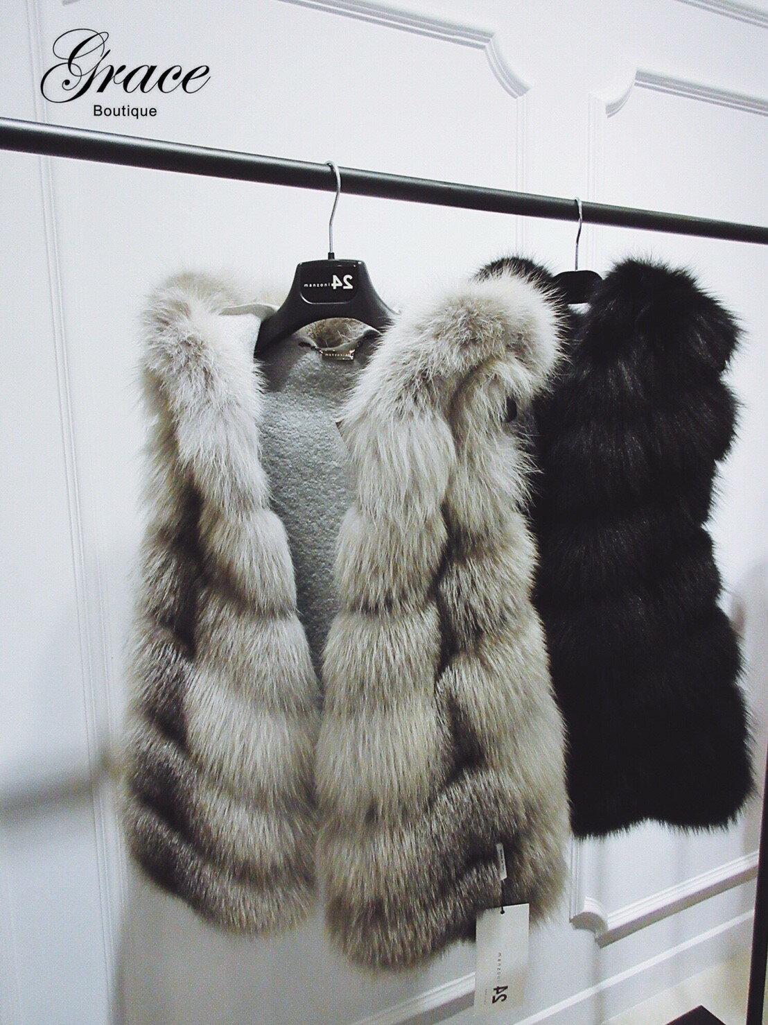 Grace Boutique MANZONI24 狐狸毛皮草背心 灰  キツネの毛皮のベスト