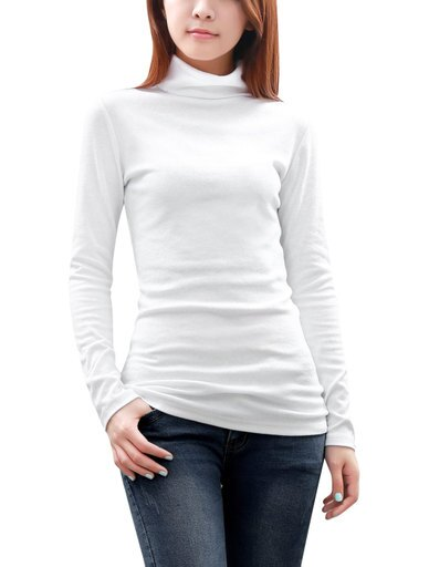 Women Slim Fit Solid Color Turtle Neck Soft Rib Knit Top White S 2748c142ac78dd23dfb68b1e6420122c