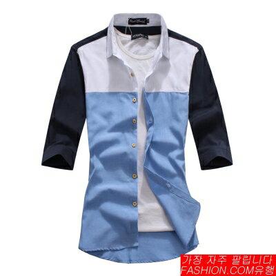 DITION SHOP 韓系上下拼接線條素面襯衫 紳士 休閒 簡約