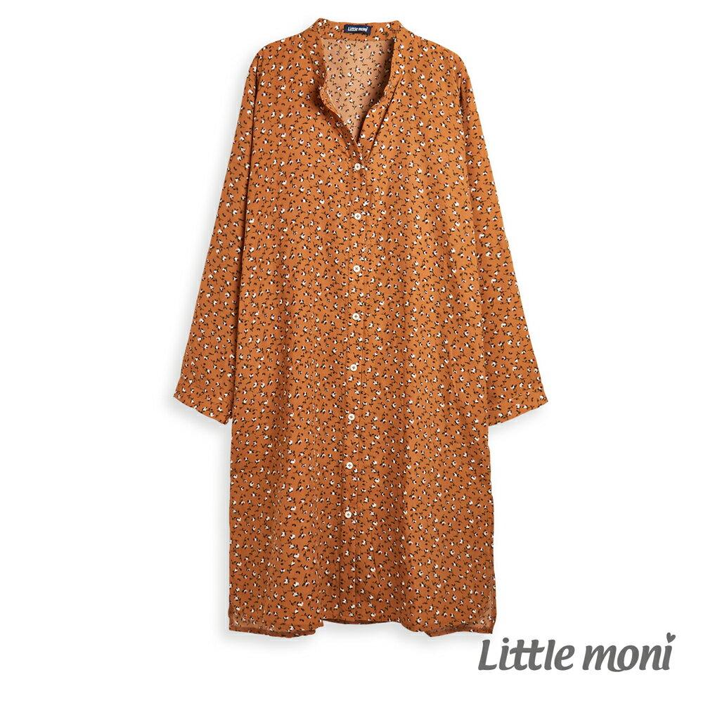 Little moni 印花長版襯衫-駝色(好窩生活節) - 限時優惠好康折扣