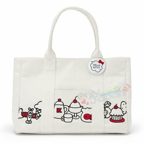 【真愛日本】4901610062418燈芯絨刺繡手提袋-KT甜點ADM凱蒂貓kitty三麗鷗家族手提袋手提包