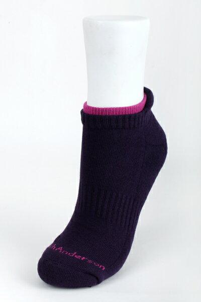 【金‧安德森】女版護跟雙色毛巾底腳踝襪
