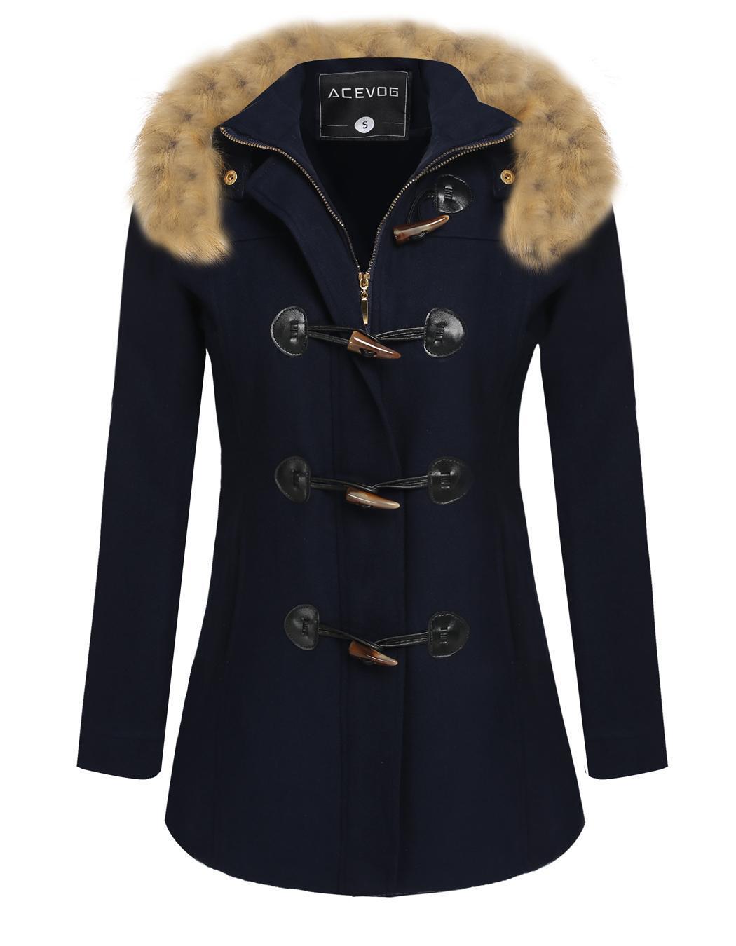 Women Detachable Faux Fur Hooded Long Solid Slim Wool Blend Coat 3