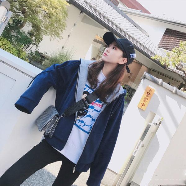 PS Mall 休閒百搭藍銀狐絨連帽外套 大衣 【T1907】 - 限時優惠好康折扣
