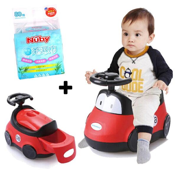 【奇買親子購物網】babyhood小汽車座便器+Nuby食鹽水柔濕巾80抽1串