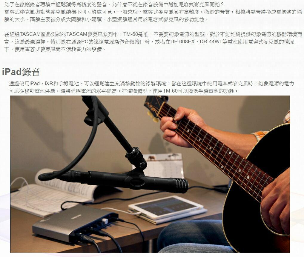 達斯冠 TASCAM TM-60 電容式麥克風 公司貨 網路 直播 樂器 錄音 MIC 支架 收音 音樂 吉他 鋼琴 6