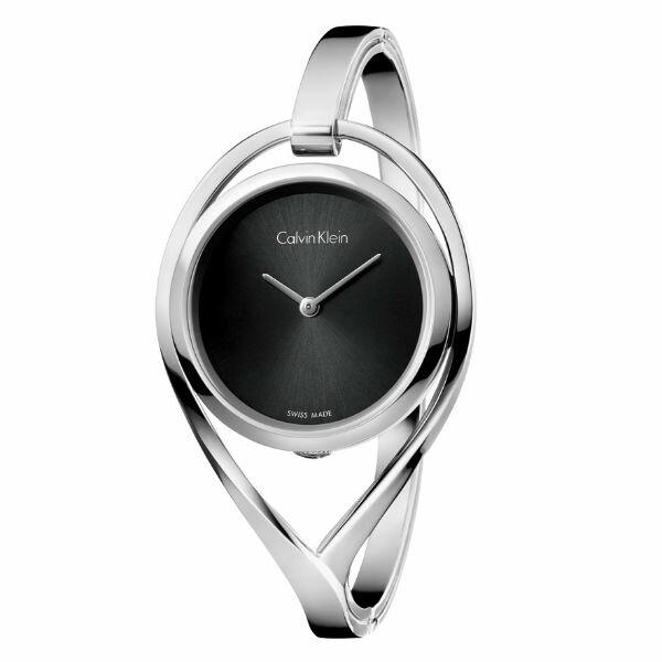 CK精巧系列(K6L2M111)M版亮銀時尚手環腕錶黑面29mm