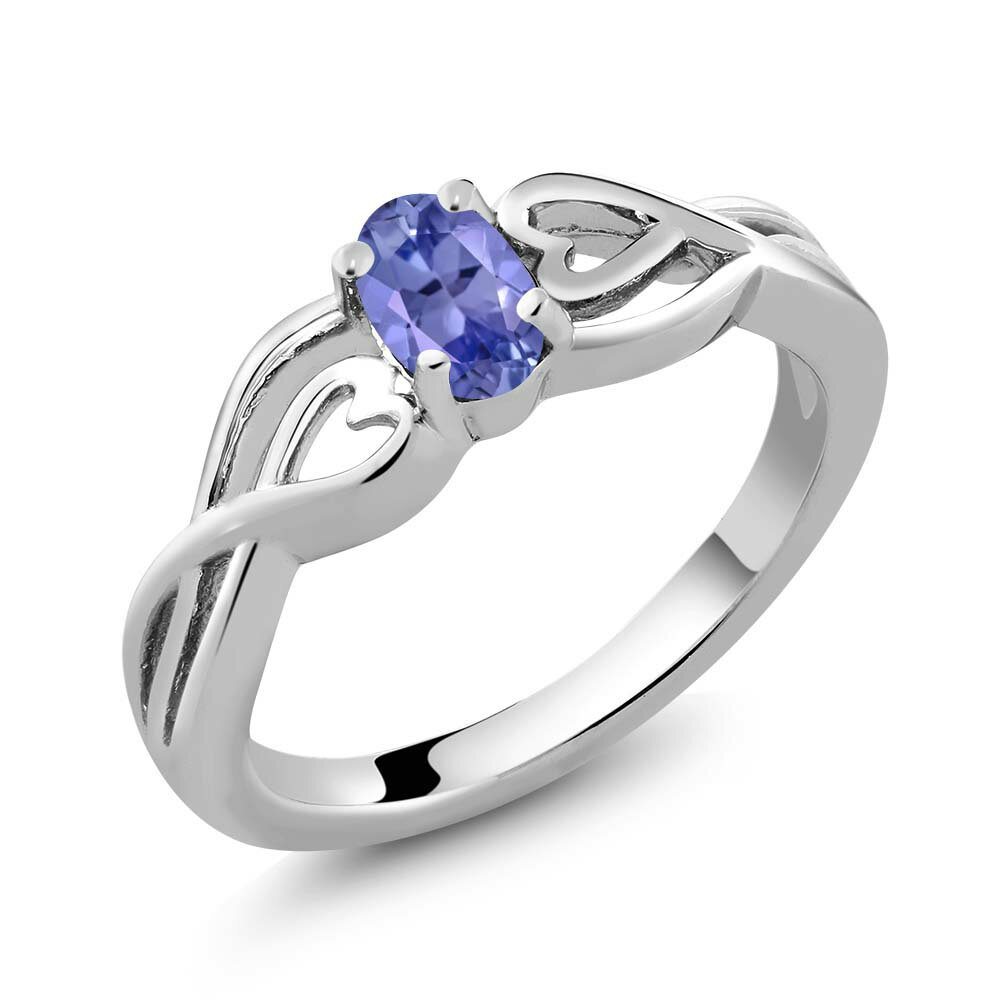 0.45 Ct Oval Blue Tanzanite 925 Sterling Silver Ring 0