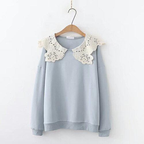 日系森女系花邊蕾絲領女式毛圈棉長袖衛衣(3色F碼)【OREAD】 0
