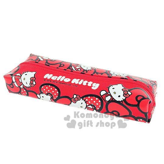 〔小禮堂〕Hello Kitty 拉鍊筆袋《紅.多動作.蝴蝶結》增添學習樂趣