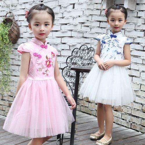 中大童短袖洋裝民族風連身裙旗袍式蓬蓬裙童裝MC32407好娃娃