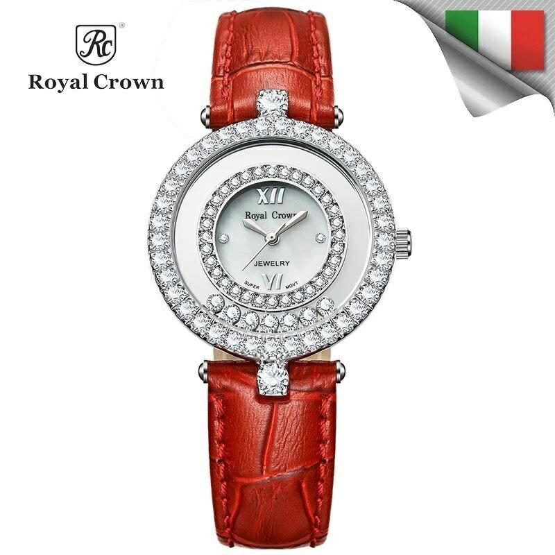 日本機芯 華貴時尚滾鑽石英女錶 真皮錶帶多色可選 3628P免運費 義大利品牌精品手錶 蘿亞克朗 Royal Crown 極品風韻
