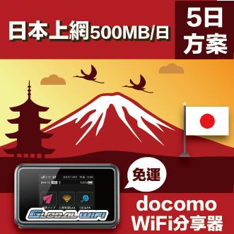 GLOBAL WiFi 亞洲行動上網分享器 日本 docomo 500MB/日 4G  5天方案