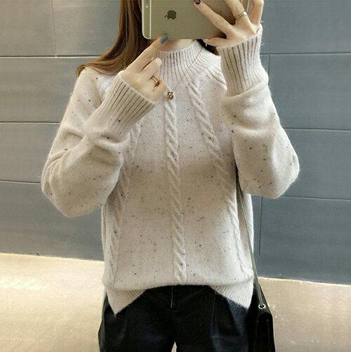 韓版寬鬆半高領毛衣加厚針織衫(3色F碼)*ORead* 0