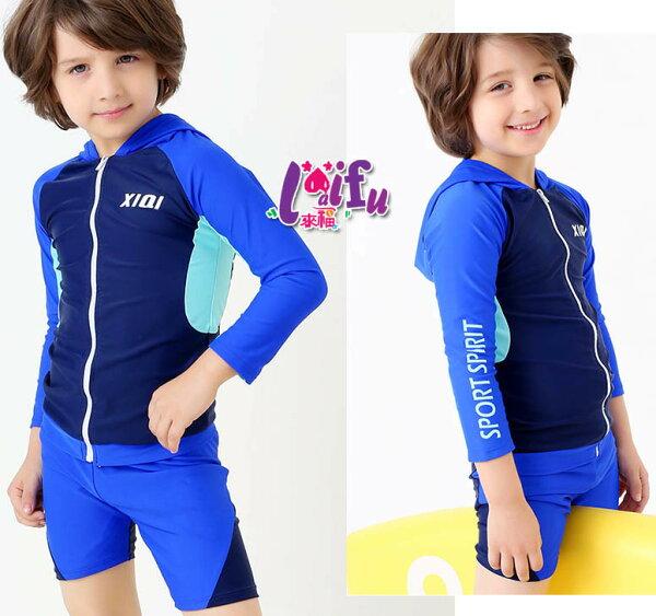 得來福:得來福泳衣,F73泳褲基寶拉鍊兒童泳褲五分褲男童小朋友游泳衣正品,整套售價750元