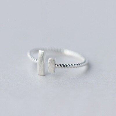 925純銀戒指開口戒~霧面磨砂方形 生日情人節 女飾品73dt519~ ~~米蘭 ~