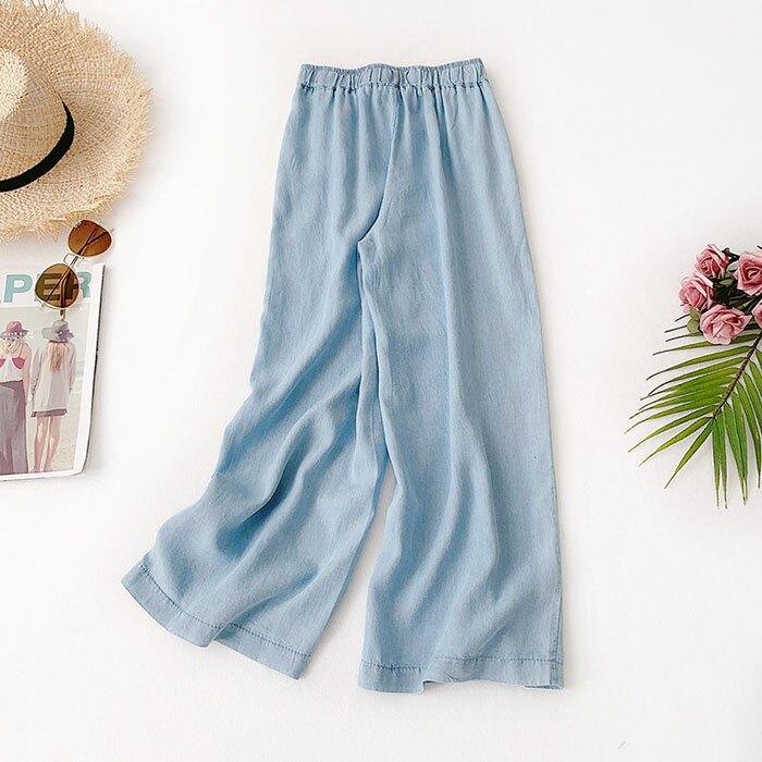 七分褲 素色 寬管褲 垂墜感 薄款 鈕扣 裝飾 鬆緊腰 七分褲【HA821】 BOBI  05 / 30 9
