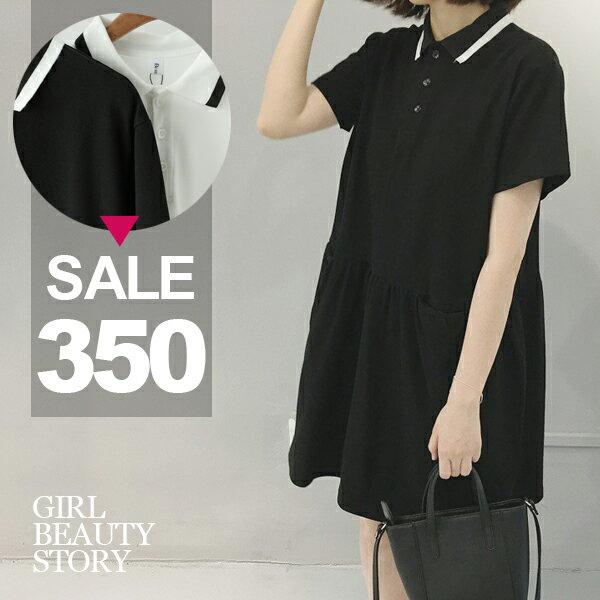 SISI【D6238】休閒可愛學院風黑白撞色寬鬆休閒中長款短袖娃娃裝連身裙洋裝