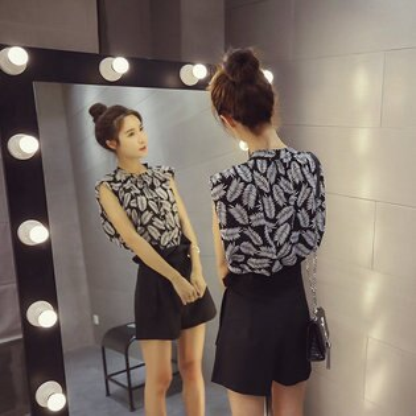 FINDSENSE服飾:FINDSENSEG5韓國時尚套裝寬鬆無袖雪紡衫+高腰闊腿短褲兩件套